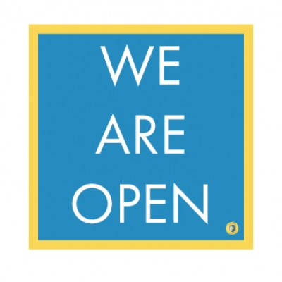 """HealthShield™ - Sticker Decal: """"We Are Open"""""""
